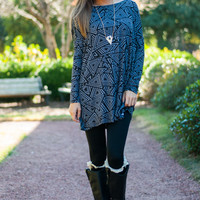Adore You Tunic, Black/Gray
