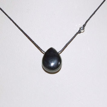 Genuine Metallic Hematite Smooth Briolette Necklace with Sterling Faceted Bead on Cord, Wabi Sabi, Minimalist, Simple Jewelry, Zen Necklace