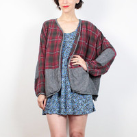 Vintage 90s Flannel Shirt Red Gray Plaid Flannel Oversized Shirt Elbow Patches Jacket Top 1990s Shirt Soft Grunge Flannel M L XL Extra Large