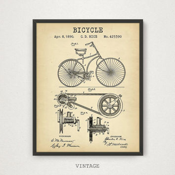 Bicycle Patent Printable, Vintage Bike Poster, Digital Download, Old Bicycle Wall Art, Retro Bicycle Print, Bike Blueprint Art Bicycle Decor