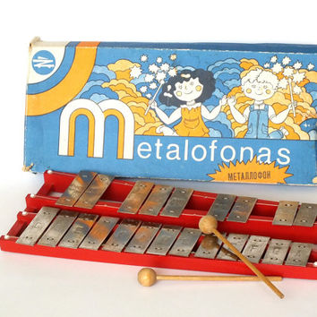 Vintage Xylophone. Soviet School Metallophone. Musical Instrument. Musical Toy. Soviet Union Shool Instrument.