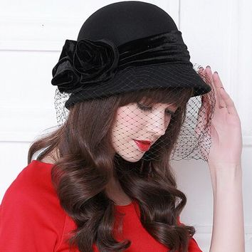 Vintage Women Wool Bucket Felt Veil Hat Party Wedding Velvet Bow Cloche Cap Elegant Black Wine Red Wool Winter Warm Ladies Hat