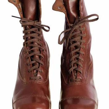 Vintage Brown Leather Boots Early  1920s Girls/Boys  Cap Toe NIB