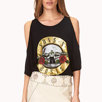 FOREVER 21 Cutout Guns N Roses Tee Black/Gold Medium
