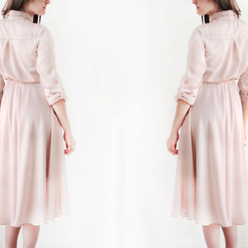 Lu pale pink shirt minimalistic simple silk  dress\Shirt dress\Flowy dress\Spring summer midi woman dress\blush pink dress\pearl pink dress