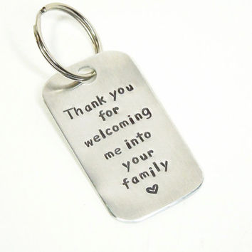 Gift for father-in-law brother-in-law gift - Thank you for welcoming me into your family keychain keyring - Wedding gift for in-laws