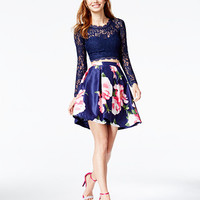 Sequin Hearts Juniors' 2-Pc. Lace Cutout-Back Floral-Print Dress, a Macy's Exclusive Style | macys.com