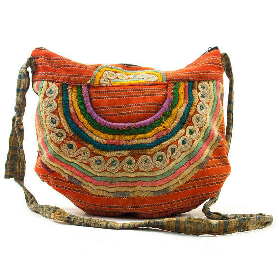70s Embroidered Guatemalan Cotton Print Bag with by nickiefrye