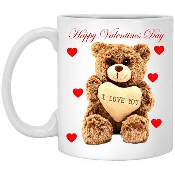 Custom Teddy Bear I Love You Ceramic Coffee Mug With Comfort Grip Handle