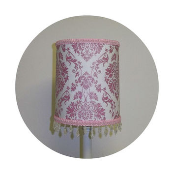 Pink Glitter Damask fabric Lamp Shade