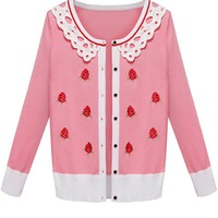 Lace Collar Rose Cardigan - OASAP.com