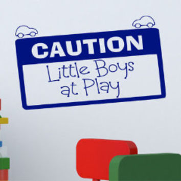Caution Little Boys at Play Wall Decal
