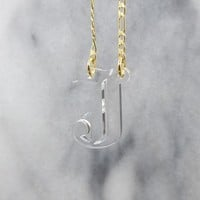 Old English Initial Necklace - Clear