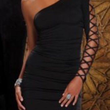 Black Long Sleeve Cut-Out Bodycon Dress