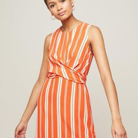 Striped Twist Front Shift Dress