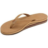 Rainbow Womens Premier Leather Double Stack Narrow Strap Sandals Sierra, Brown,Large/7.5-8.5 B(M) US