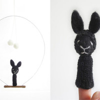 FINGER PUPPET MOBILE / Wall Hanging, Black Rabbit, needle felted eco frienfly soft toy / room decoration, baby, kids, children, nursery