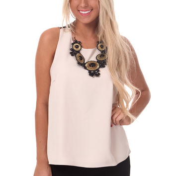Cream Tank with Black Lace Back