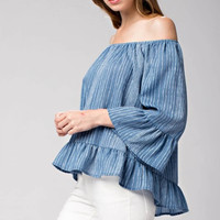 Striped Ruffle Hem Off The Shoulder Top