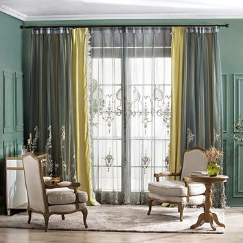 A832 Three Layers Window Curtain Panel (Blackish Green Sheer Panel/Mustard yellow/Translucent sage green Panel)