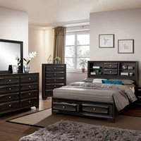 5 pc Carlynn collection antique gray finish wood w/ drawers in footboard queen bedroom set