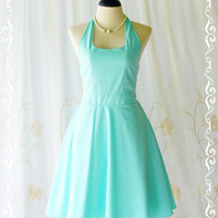 My Lady IV - Mint Blue Halter Dress Blue Party Tea Dress Vintage Design Bridesmaid Dress Blue Spring Summer Dress Halter Day Dress XS-XL