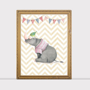 Nursery Animal Rhinoceros Prints , Baby Animal Art, Nursery Decor, Cute Nursery Art, Baby Animal Prints , Rhinoceros print, Kids Printable
