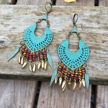 Large Gypsy Earrings,  boho chic, turquoise green, earrings,colorful gypsy earrings gift for her