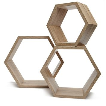 Wooden Hexagon Shelves