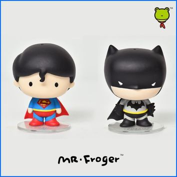 Mr.Froger 5cm DC Comics Batman VC Superman Action Figure Mini Anime Chibi Dolls Justice League Toy PVC Cute Figurine POP Heroes