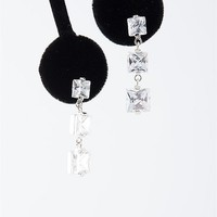 Jewelry & Accessories Time Honored Triple Square Stone Dangle Earrings - Silver