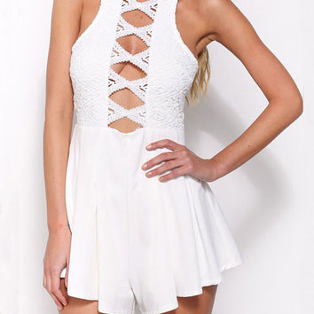 Fashionable Lace Openwork Sleeveless Horn Rompers