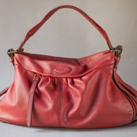 Lancel Paris Red Handbag Soft Leather. Medium Size Hobo Satchel Handbag. Premium Leather Women Shoulder Bag worn previously. Slouchy Bag her