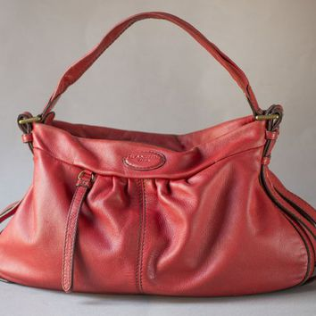 a6dddaafc2 Lancel Paris Red Handbag Soft Leather. Medium Size Hobo Satchel