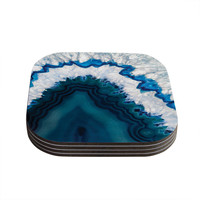 "KESS Original ""Blue Geode"" Nature Photography Coasters (Set of 4)"