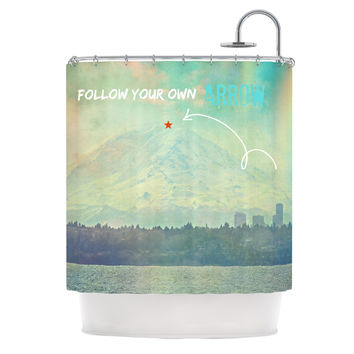 "Robin Dickinson ""Follow Your Own Arrow"" City Landscape Shower Curtain"