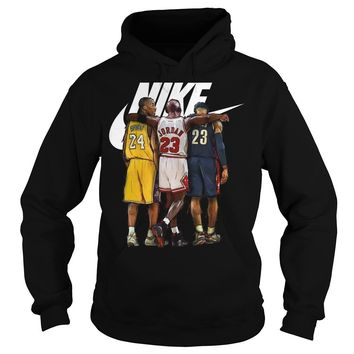 Nike Michael Jordan Hugging Kobe Bryant And Lebron James shirt Hoodie