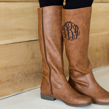 Brown Monogrammed Boots