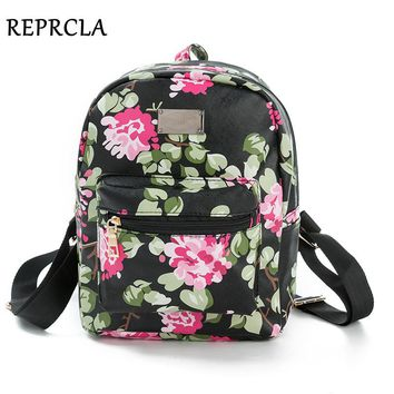 REPRCLA New Printing Backpack School Bags For Teenagers PU Leather Women Backpacks Girls Travel Bag High Quality N509