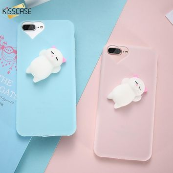 KISSCASE 3D Cartoon Cat Cases For iPhone 5s 5 se Lovely Squishy Phone Case for iPhone 7 6 6s Plus Ultra Slim Plastic Cover Coque