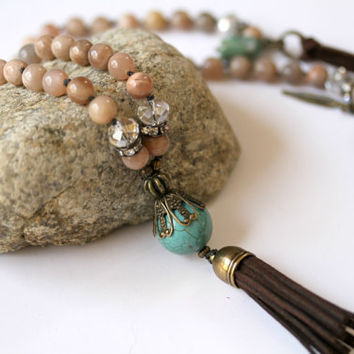 Soft Pastel Peach Sunstone and Turqouise Tassel BOHO Style Knotted Leather Corded Necklace Matching Earrings