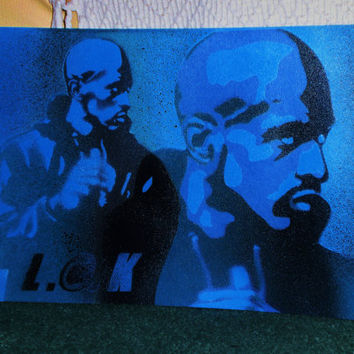Rakim by night painting,paper,stencil art,graffiti,hip hop,rap,oldskool,American,Europe,unique,spray paint,blue,black,music,spraycan,wall