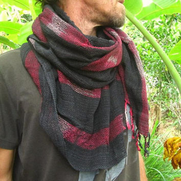 Men's Handwoven Cotton Rustic Scarf / Stylish Urban Hippie Boho Hipster Man Shawl / Men's Scarve / Unisex Cotton Wrap / Neckerchief
