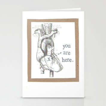 You Are Here Anatomy Heart Stationery Cards by Blue Specs Studio