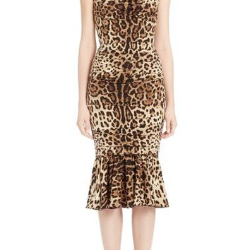 Dolce & Gabbana Stretch Cady Leopard Print Ruched Dress | Nordstrom