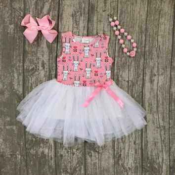 new Easter cotton design new baby girls kids boutique clothes pink bunny Yarn dress sets ruffles with matching accessories set