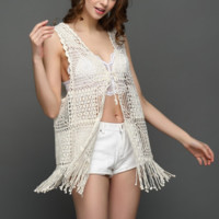 New summer sexy Women solid color crochet sleeveless Beach blouse-0531
