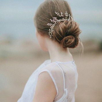 Bridal Hair Pin with Rose Quartz One Pin