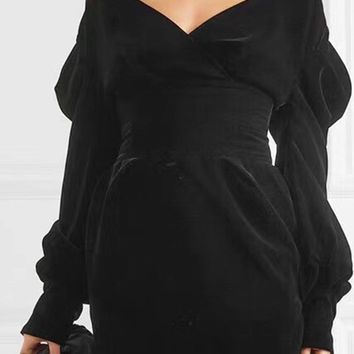Puff On This Black Velvet Long Puffed Sleeve V Neck Off The Shoulder Wide Waist Mini Dress
