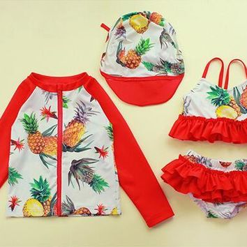 4Pieces Sets Kids Swimwear for Girls Cute Korean Polka Dots and Pineapple Print Junior Girls Swimsuit Child Swimming Accessories